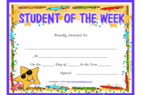 Student Of The Week Certificate Template Download Printable with regard to Student Of The Week Certificate Templates