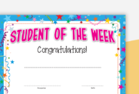 Student Of The Week Certificate with regard to Student Of The Week Certificate