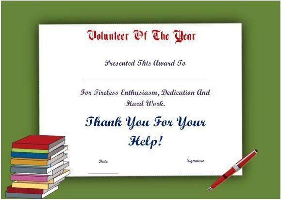 Student Volunteer Of The Year Award Certificate   Awards with Fresh Volunteer Of The Year Certificate 10 Best Awards