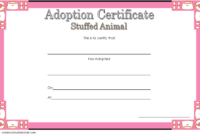 Stuffed Animal Adoption Certificate Template Free | Adoption For Unique Pet Adoption Certificate Editable Templates