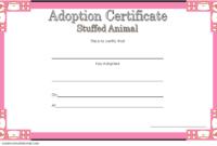 Stuffed Animal Adoption Certificate Template Free | Adoption for Unique Pet Adoption Certificate Editable Templates