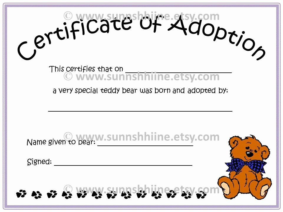 Stuffed Animal Birth Certificate Template Best Of Within Fresh Stuffed Animal Birth Certificate Template 7 Ideas