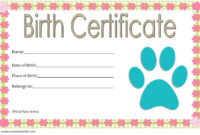 Stuffed Animal Birth Certificate Template Free (2Nd Design intended for Unique Stuffed Animal Birth Certificate