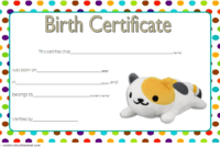 Stuffed Animal Birth Certificate Template Free For Cat Doll intended for Unique Stuffed Animal Birth Certificate