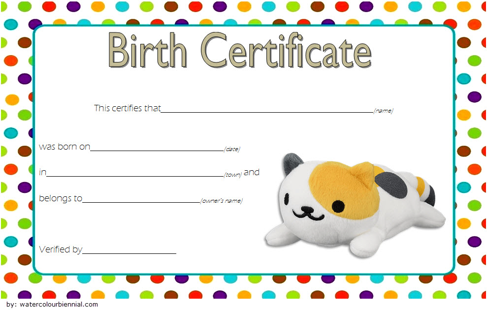 Stuffed Animal Birth Certificate Template Free For Cat Doll Throughout Stuffed Animal Birth Certificate Template 7 Ideas