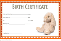 Stuffed Animal Birth Certificate Template Free For Rabbit throughout Stuffed Animal Birth Certificate Templates