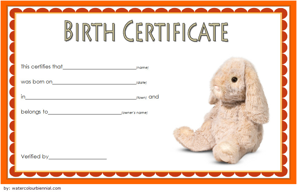 Stuffed Animal Birth Certificate Template Free For Rabbit With Regard To Stuffed Animal Birth Certificate