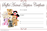 Stuffed Animal Pet Adoption Certificate Template Free 1 In inside Stuffed Animal Birth Certificate Template 7 Ideas