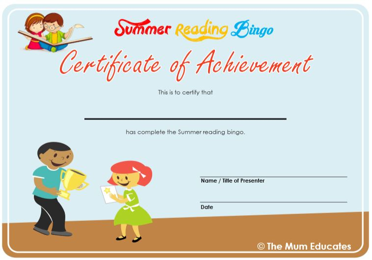 Summer Reading Bingo - Free Printable - The Mum Educates Regarding Summer Reading Certificate Printable