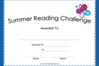 Summer Reading Challenge Blue Certificate Printable Certificate regarding Summer Reading Certificate Printable
