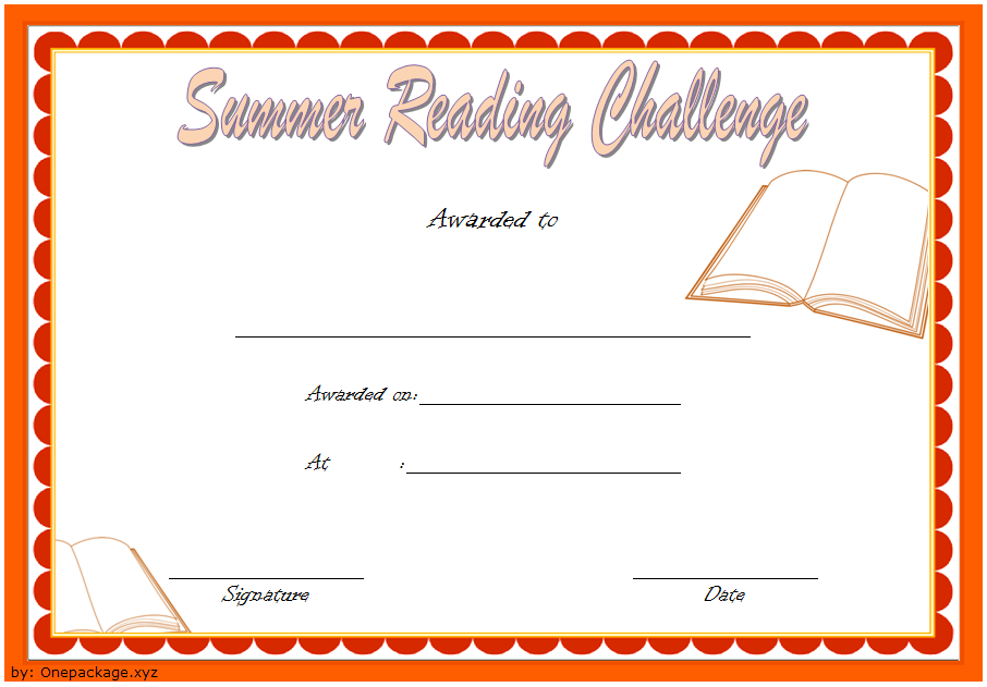 Summer Reading Challenge Certificate Free Printable 1 In With Summer Reading Certificate Printable