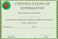 Superlative Award Certificate Template | Awards Certificates with Superlative Certificate Templates
