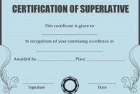 Superlative Certificate Template Words | Certificate inside Fresh Superlative Certificate Templates
