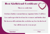 Surprise Your Girlfriend Using These 16+ Best Girlfriend pertaining to Best Girlfriend Certificate 10 Love Templates