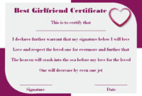 Surprise Your Girlfriend Using These 16+ Best Girlfriend within Best Girlfriend Certificate 10 Love Templates