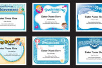 Swimming Certificates Templates | Swim Awards | Swimming Coach with Unique Swimming Certificate Template