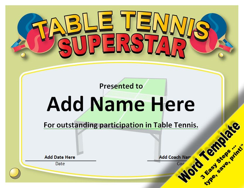 Table Tennis Award, Editable Word Template, Printable with regard to Table Tennis Certificate Templates Editable