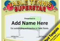 Table Tennis Award, Editable Word Template, Printable with Table Tennis Certificate Template Free