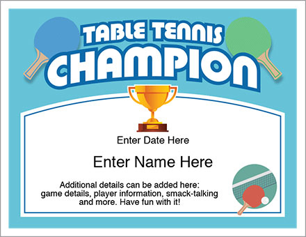 Table Tennis Champion Certificate - Free Award Certificates for Table Tennis Certificate Template Free