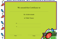 Table Tennis Printable Certificate with Table Tennis Certificate Template Free