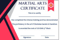 Taekwondo Certificate Templates For Trainers & Students in Best Martial Arts Certificate Templates