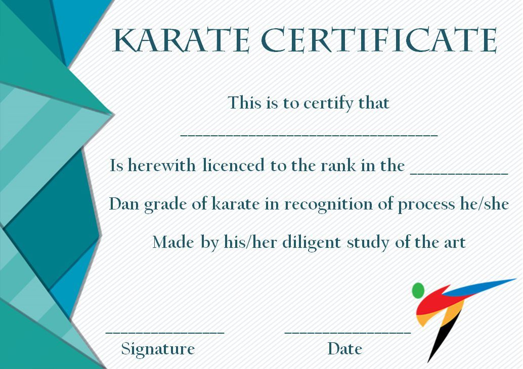 Taekwondo Certificate Templates For Trainers & Students Inside Karate Certificate Template
