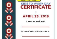Take Your Child To Work Day – Daughters And Sons To Work Day regarding Fresh Certificate For Take Your Child To Work Day