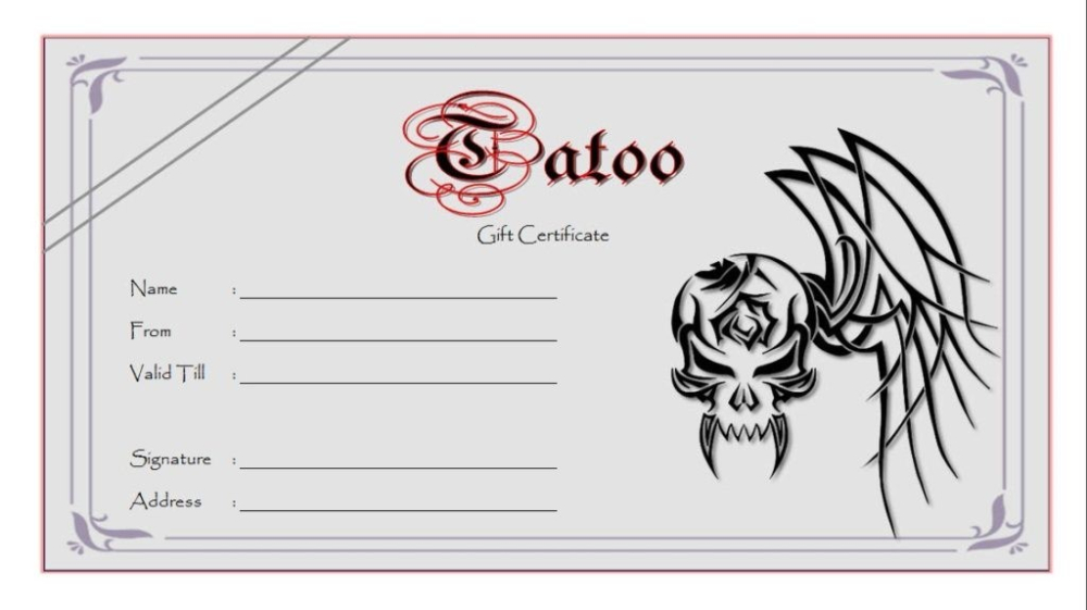 Tattoo Gift Certificate Template (5) - Templates Example In Tattoo Gift Certificate Template