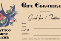 Tattoo-Gift-Certificate-Template (Editable Business Gift within Unique Tattoo Gift Certificate Template Coolest Designs