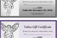 Tattoo Gift Certificate Template For Ms Word | Document Hub with Tattoo Gift Certificate Template