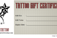 Tattoo Gift Certificate Template Free Docx And Pdf (1St inside Unique Tattoo Gift Certificate Template Coolest Designs