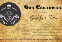 Tattoo Gift Certificate Template #Gift #Certificate with Best Tattoo Gift Certificate Template