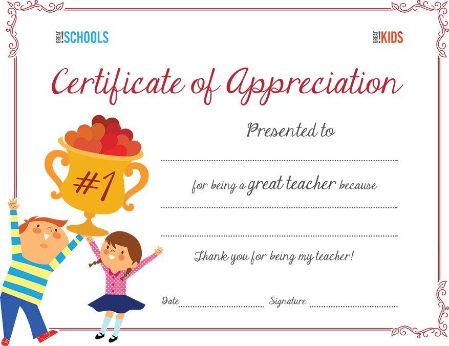 Teacher Appreciation Certificate | Parenting | Sunday School Within Teacher Appreciation Certificate Templates