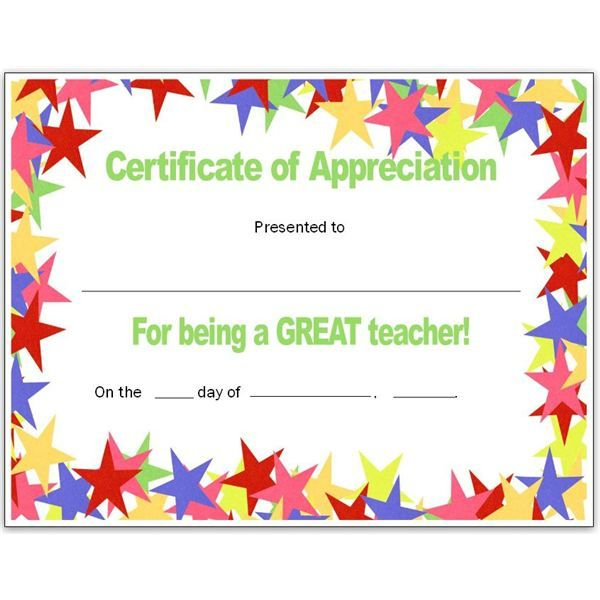 Teacher Appriecation Certificates | Stars Teacher'S With Regard To Teacher Appreciation Certificate Templates