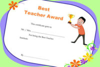 Teacher Of The Month Certificate Templates : 11+ Word Award in Best Teacher Certificate Templates
