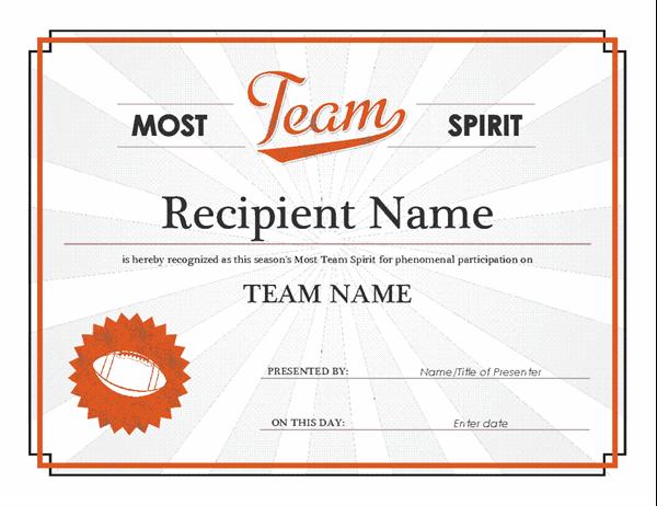 Team Spirit Award Certificate In Free Teamwork Certificate Templates