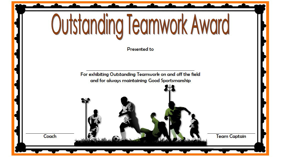 Teamwork Award Certificate Template Free In Football In 2020 pertaining to Unique Free Teamwork Certificate Templates