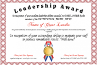 Template : Free Leadership Award Template At within Leadership Award Certificate Template
