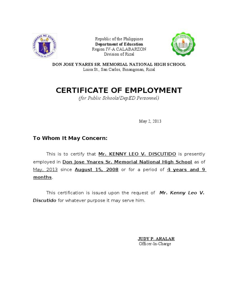 Template Of Certificate Of Employment In 2020 | Business Pertaining To Unique Certificate Of Employment Templates Free 9 Designs