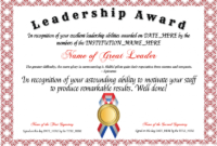 Template : The Glamorous Certificates – School Of Management throughout Outstanding Student Leadership Certificate Template Free