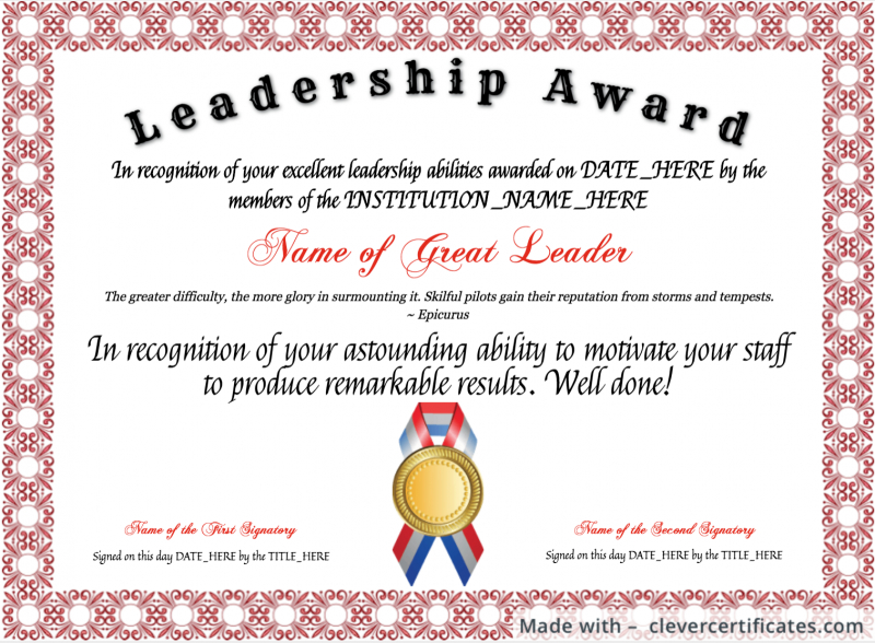 Template : The Glamorous Certificates – School Of Management Within Leadership Certificate Template Designs