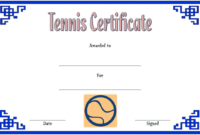 Tennis Award Certificate Template Free 2 Di 2020 in Best Tennis Certificate Template