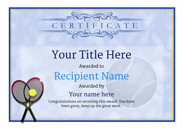 Tennis Certificate Template Free (7) - Templates Example With Unique Table Tennis Certificate Templates Editable