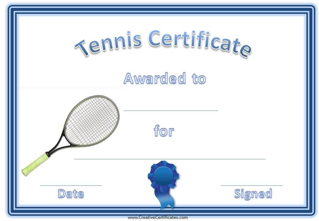 Tennis Certificate Template Free In 2020 | Certificate for Fresh Printable Tennis Certificate Templates 20 Ideas