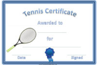 Tennis Certificate Template Free In 2020 | Certificate within Best Tennis Certificate Template