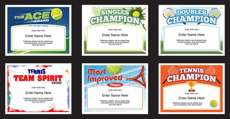 Tennis Certificates Templates | Tennis Awards | Participation In Tennis Participation Certificate