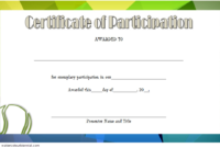 Tennis Participation Certificate Template Free 1 In 2020 throughout Fresh Printable Tennis Certificate Templates 20 Ideas