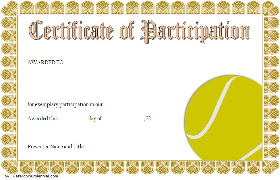 Tennis Participation Certificate Template Free 5 In 2020 with Tennis Participation Certificate