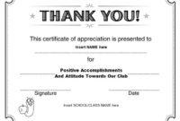 Thanks Certificate Template In 2020 | Certificate Of regarding Unique Teacher Appreciation Certificate Templates