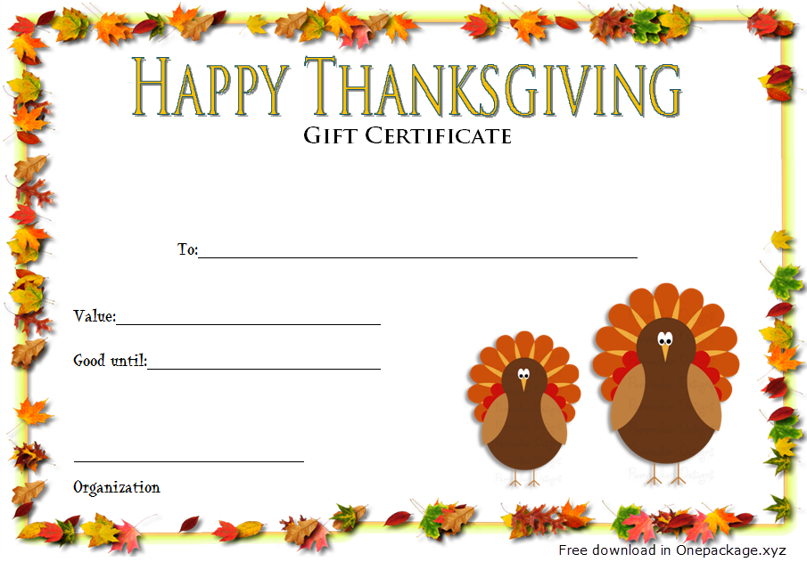 Thanksgiving Gift Certificate Template Free (Turkey Theme for Fresh Thanksgiving Gift Certificate Template Free
